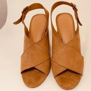 The loft, beige suede heels with peep toes